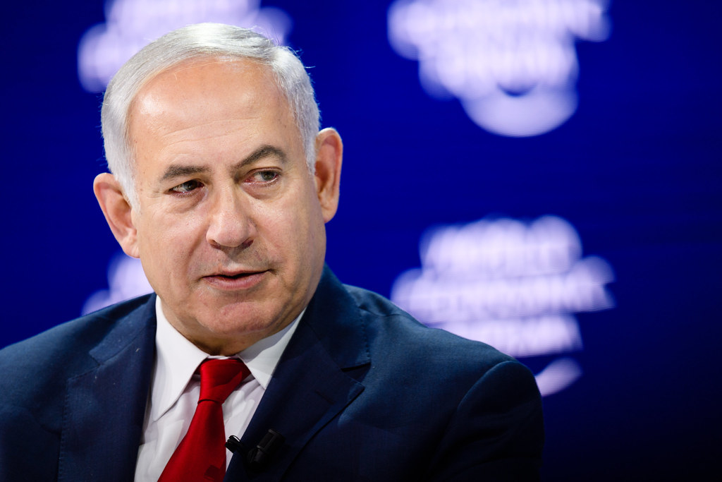 """Benjamin Netanyahu, Prime Minister of Israel during the Session """"A Conversation with Benjamin Netanyahu, Prime Minister of Israel"""" at the Annual Meeting 2018 of the World Economic Forum in Davos, January 25, 2018. Copyright by World Economic Forum / Manuel Lopez"""